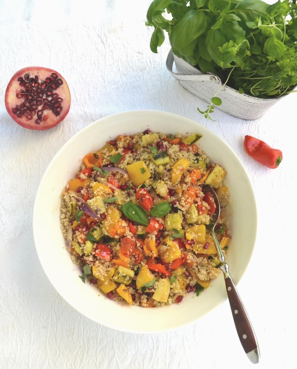 Mediterranean Quinoa Salad with Roasted Vegetables and Pomegranate 3