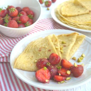 French Crepes With Fresh Strawberry Lime Salad