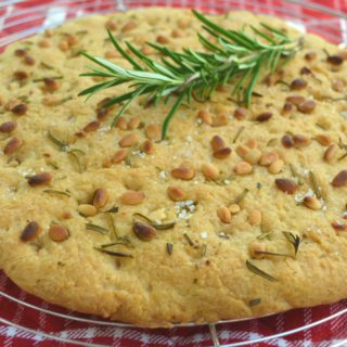 Pine Nuts & Rosemary Gluten Free Focaccia {With Sparkling Water}