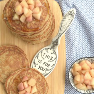Sunday Morning Oat & Coconut Flour Pancakes With Maple Caramelized Apples {Rice-Free}