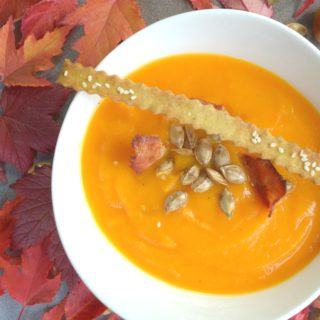 Roasted Butternut Squash Soup With Bacon Chips
