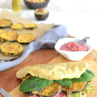 Crusty Eggplant, Beetroot Hummus & Avocado Pita {Vegan}