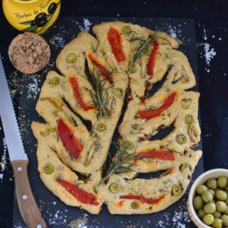 Fougasse Provencal Flatbread With Artichoke Hearts, Roasted Paprika & Olives