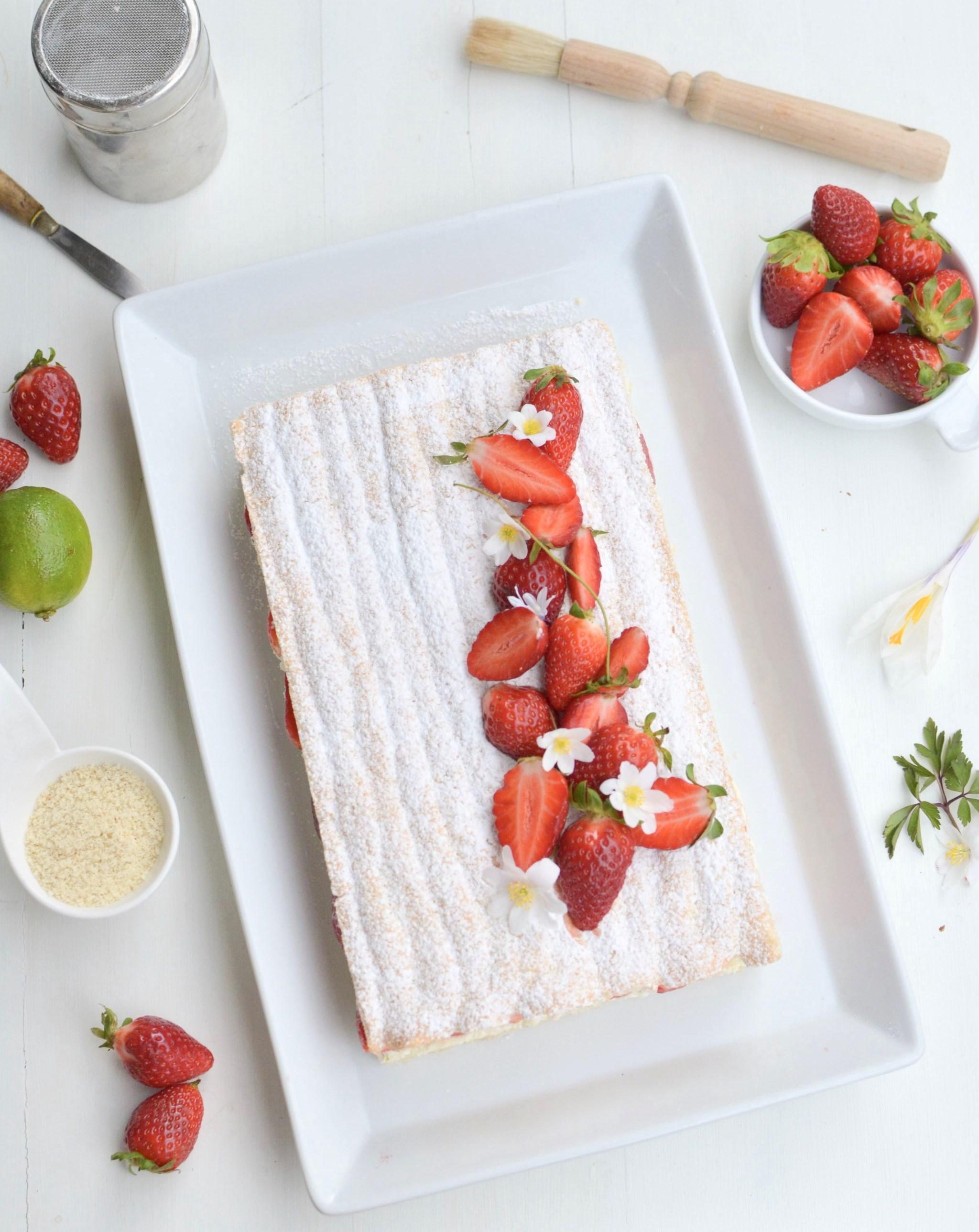 Strawberry Lime Succès cake gluten free