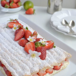 Strawberry Lime Succès Cake