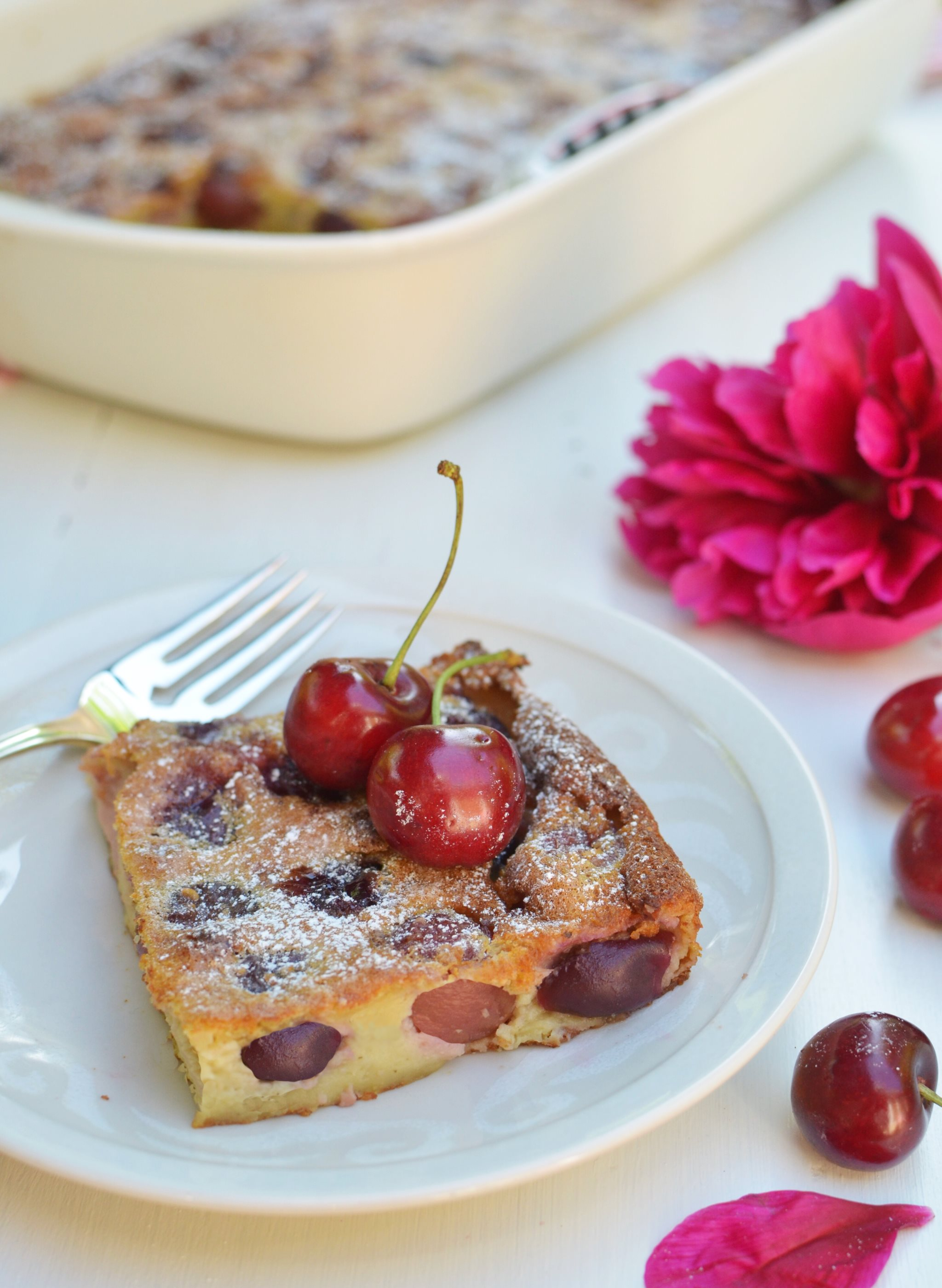 French Cherry Clafoutis Gluten free and How to pit cherries with a straw