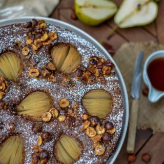Chocolate And Pear Cake With Mapple Caramelized Hazelnuts